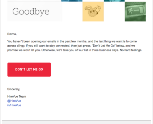 HireVue's automated email to unsubscribe.