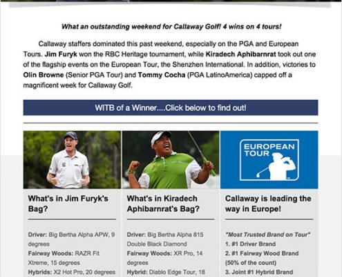 Callaway Golf Email Marketing Campaign. Appealing to their audiences' interests, giving them helpful, relevant information about what they may like to know. What is in Jim Furyk's bag could also be in your golf bag.